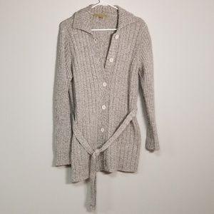 Carolyn Taylor Button Down Knit Tie Waist Cardigan